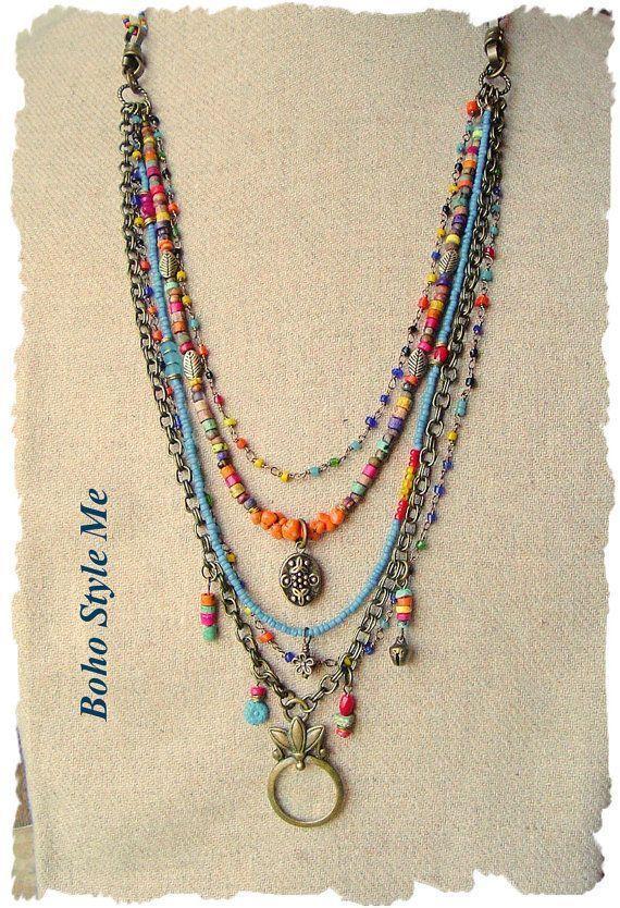 Böhmischer Schmuck Bunte geschichtete Perlenkette von BohoStyleMe