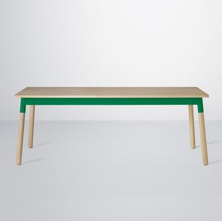 Adaptable table by Muuto with poweder-coated steel frame in green, table top and legs in oak. Available at Tempo Berlin http://www.tempoberlin.com