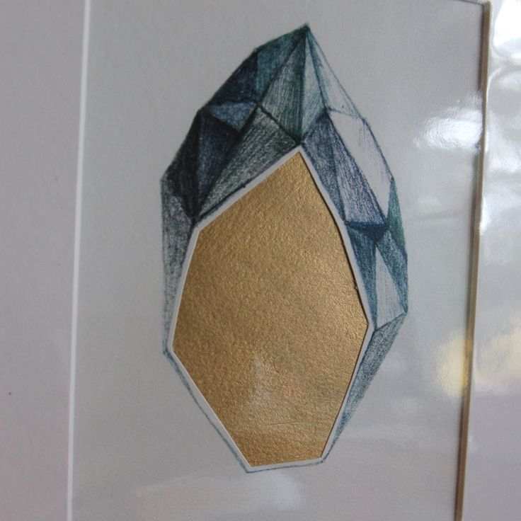 ► Crystalline geometric mountain ► Hand painted gold shape ► Hand cut ► Oceanic blue green colours! ► mmm!  ► Top layer printed on beautifully textured acid free 150 gsm cream coloured fine art paper  ► Bottom layer hand painted using a luscious metallic pigment and acrylic varnish - catches ...