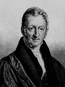 Thomas Robert Malthus, né près de Guildford (Surrey) le 13 février 17661 et mort à Bath (Somerset) le 29 décembre 1834, est un économiste britannique de l'École classique, et également un pasteur anglican.  Contemporain du décollage industriel anglais, il est surtout connu pour ses travaux sur les rapports entre les dynamiques de croissance de la population et la production, analysés dans une perspective « pessimiste », totalement opposée à l'idée smithienne d'un équilibre harmonieux et…