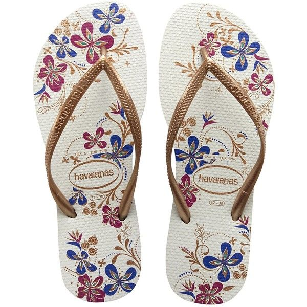 Havaianas Slim Season White/Rose Gold Flip Flops - UK 8 - BR 41/42:... ❤ liked on Polyvore featuring shoes, sandals, flip flops, footwear, white shoes, rose gold sandals, havaianas shoes, havaianas sandals and rose gold shoes