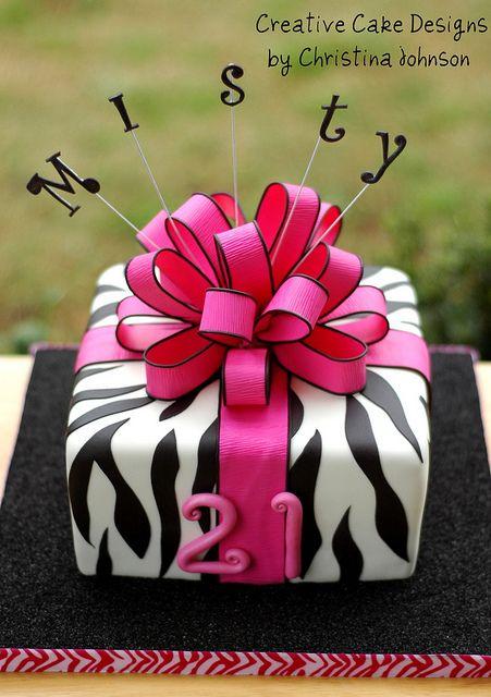 21st Birthday Zebra Present cake by Creative Cake Designs (Christina), via Flickr