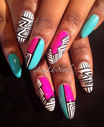 Bright Tribals by iLuvUrNailz - Nail Art Gallery nailartgallery.nailsmag.com by Nails Magazine www.nailsmag.com #nailart