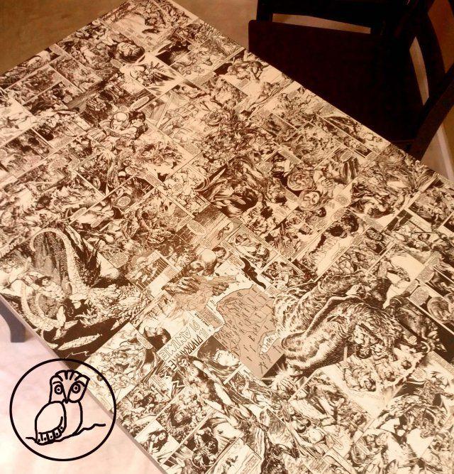 #Tavolo #decoupage #fumetti
