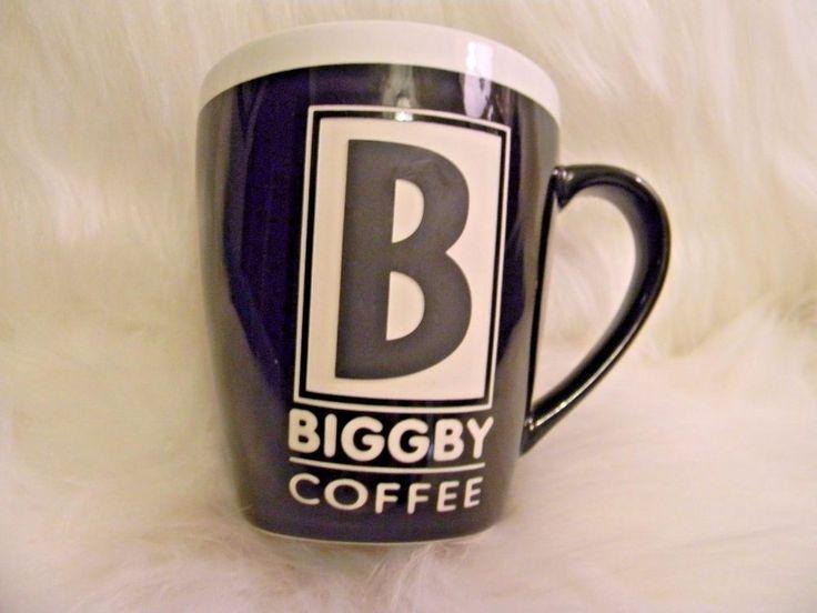 BIGGBY COFFEE Mug Cup Black White Big B Logo and Star Embossed