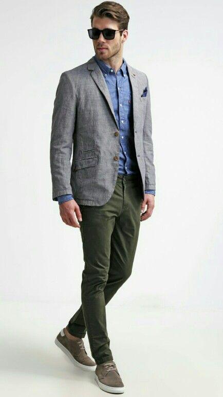 Grey blazer, olive chinos, blue denim shirt