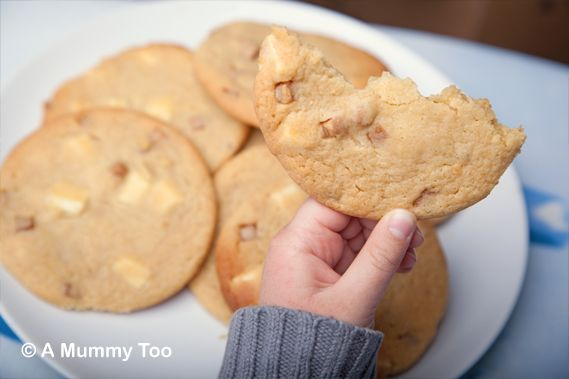 It's Easter as I write this, which means we've been in the kitchen cooking up all manner of sweet treats. These big, chewy biscuits are flavoured with vanilla and packed full of big chunks of fudge and white chocolate. They are good. Really good. Here's what to do.