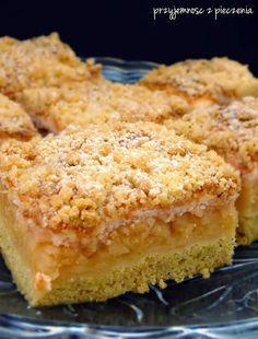Kruchy placek z jabłkami i kisielem  Хрупкий торт с яблоками и желе