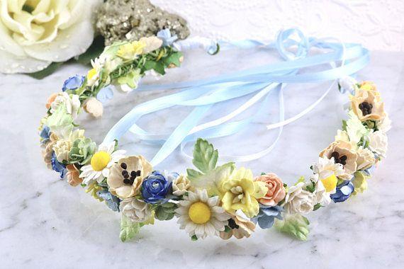 Spring Flower Crown Wild Flower Crown Daisy Halo Spring Boho Wedding Flowers Flower Girl Crown Rose Floral Crowns