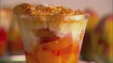 John Barricelli makes individual peach cobblers in custard cups.