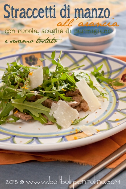 Bolli bolli pentolino: Straccetti all'arancia con rucola,scaglie di parmigiano e sesamo tostato