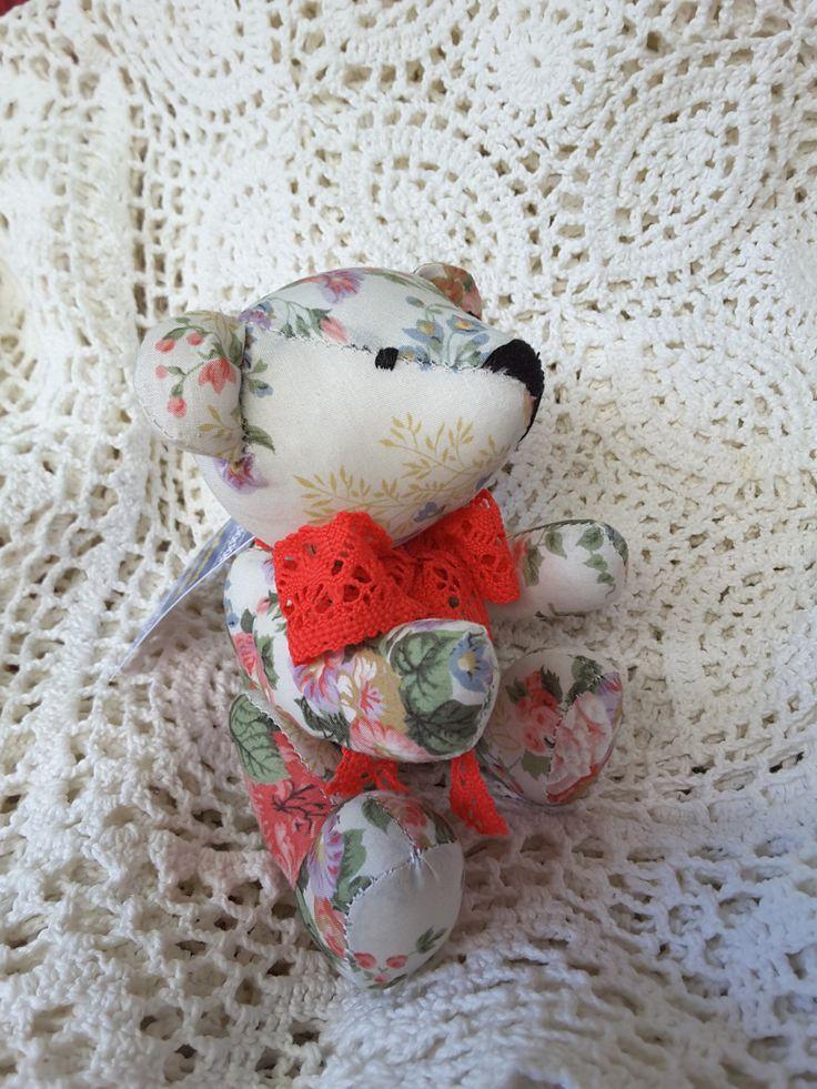 Handmade Teddy bear  textile doll home decor made in Ukraine ready to ship by royalknitting on Etsy