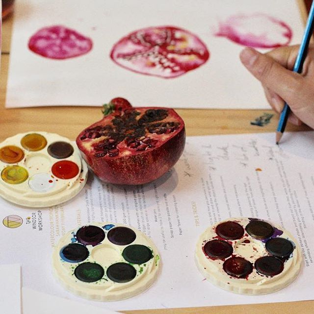 @sarahhankinsonillustration Watercolour Workshop - with props so good you could actually eat them