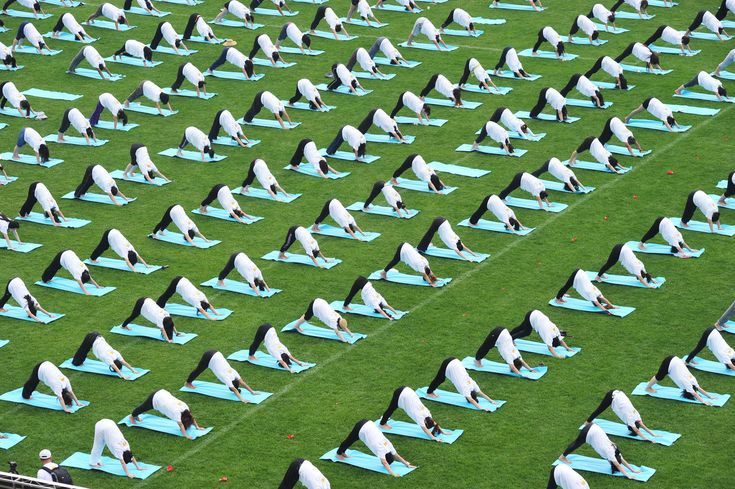 Students take part in a mass yoga session to mark the first International Day of Yoga at Peking University in Beijing, China