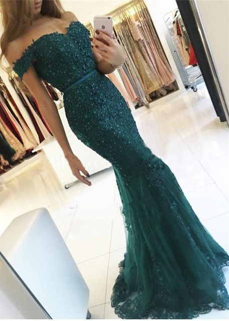 Charming Off-the-Shoulder Lace Mermaid Appliques Dark Green Prom Dresses_Evening Gown