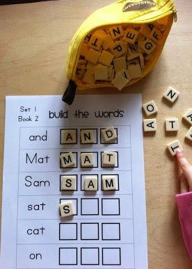 Great idea for preschoolers. Use Bananagrams or Scrabble letters to build words.