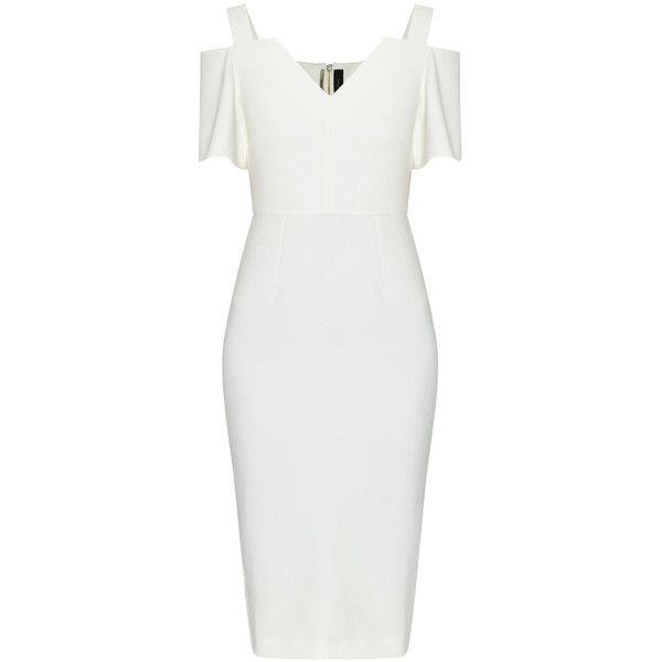 ROLAND MOURET Awalton Crêpe Pencil Dress ❤ liked on Polyvore featuring dresses, below the knee dresses, roland mouret dress, white v neck dress, white drape dress and zipper dress