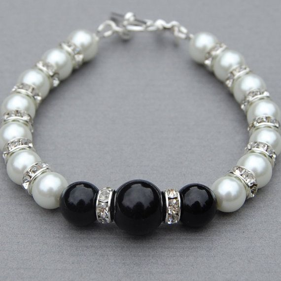 Blanco y negro joyas, pulsera negra imitación perla blanca, dama regalos de boda