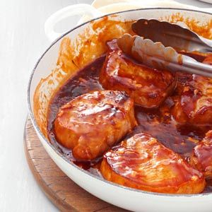 Sweet Barbecued Pork Chops - can freeze cooked pork chops topped with sauce in freezer containers - thaw overnight