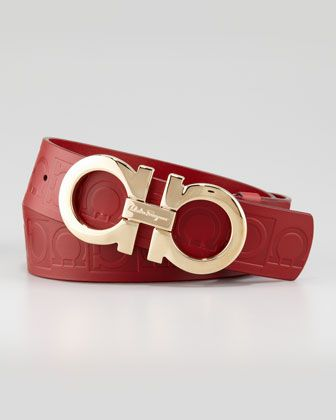Giant-Embossed Double-Gancini Belt, Red by Salvatore Ferragamo at Neiman Marcus.