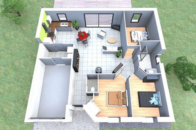 Plano De Casa 3d De 80 M2 Planos De Casas Casas En 3d Planos De Casas Modernas