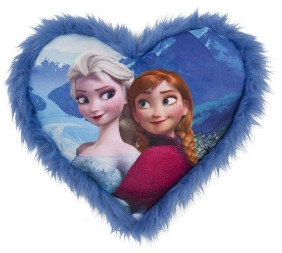Zet dit hartvormige kussen van Frozen mooi neer op je bed, of ga er lekker mee knuffelen. Dit zachte kussen heeft een afbeelding van Anna en Elsa en is ongeveer 36 centimeter groot.   Afmeting: 100x330x330 mm - Kussen Frozen Elsa en Anna: 33x33 cm