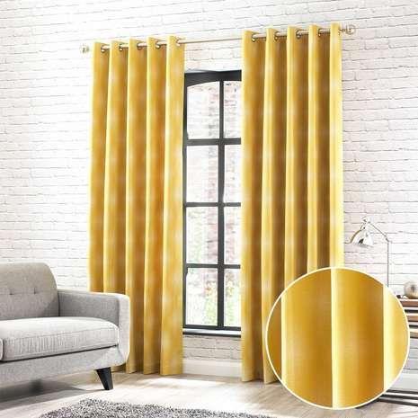 Fiji Yellow Jacquard Eyelet Curtains | Dunelm