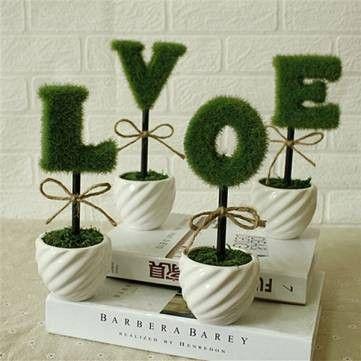 FREE SHIPPING! 4Pcs LOVE Simulation Plant Pot Gift Artificial Flower Plant Home Desk Window SKU268731Decor
