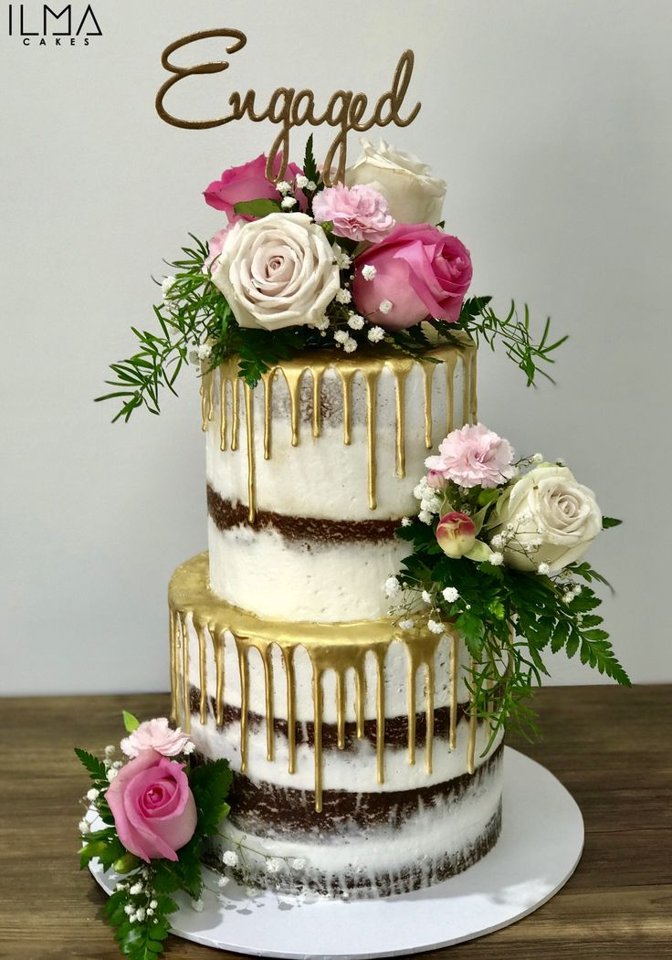 Two tier semi naked gold drip cake | Cakes | Pinterest ...
