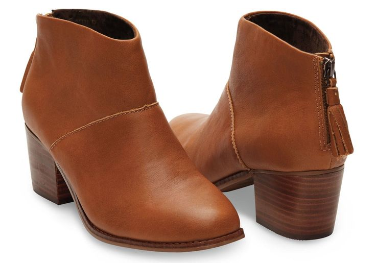 TOMS Warm Tan Full Grain Leather Women's Leila Booties by TOMS