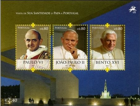 Portugal post issued a postage stamp honoring His Holiness Pope Benedict XVI