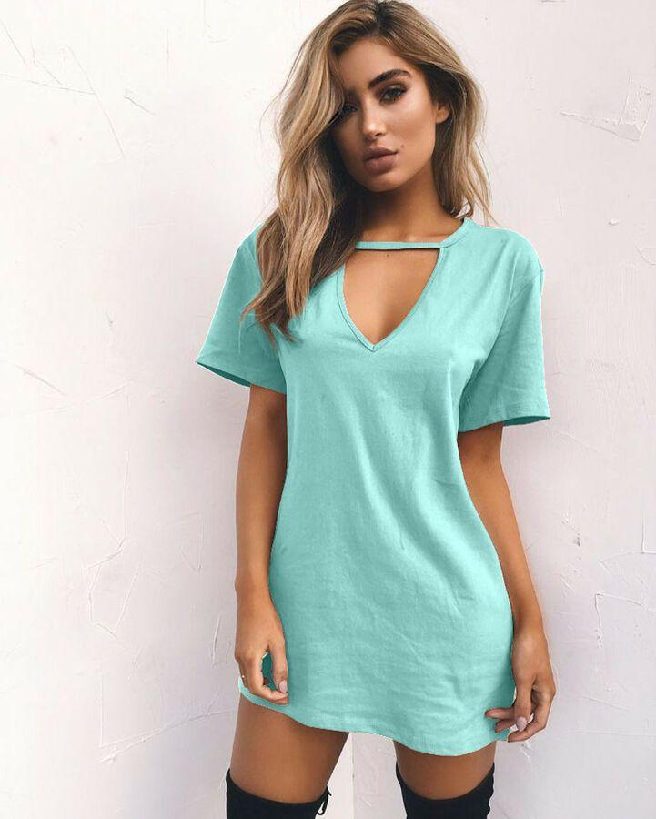 e210593c969 UK Womens Choker V Neck Long Tops T-Shirt Club Ladies Party Mini Dress Plus  Size#Neck#Long#Tops