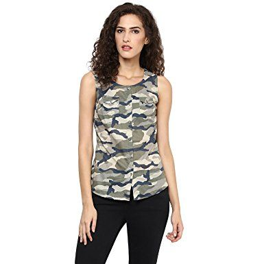 Urban Women women Army print shirt has a round neck: Amazon.in: Clothing & Accessories