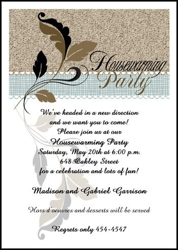 Flourish Leaf Design Housewarming Party Invitations At