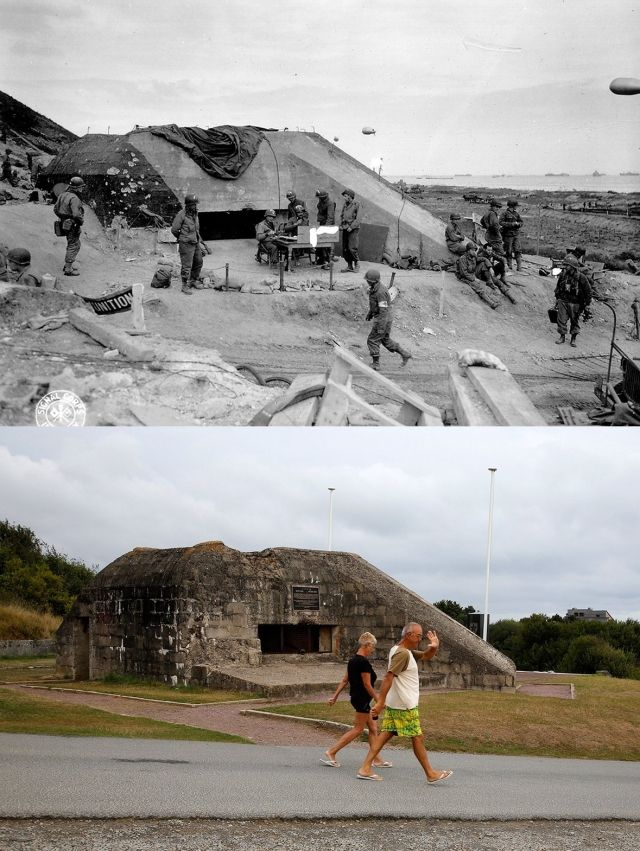 Normandy Then Now http://twentytwowords.com/d-day-photos-from-1944-and-photos-of-vacationers-at-the-exact-same-locations-today-28-pics/#channel=f29301c01eb314&origin=http://twentytwowords.com