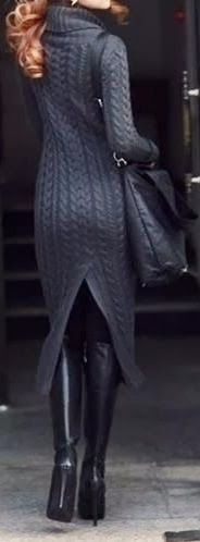 Comfy and elegant charcoal knit sweater dress with back slit . Travel in style this winter!