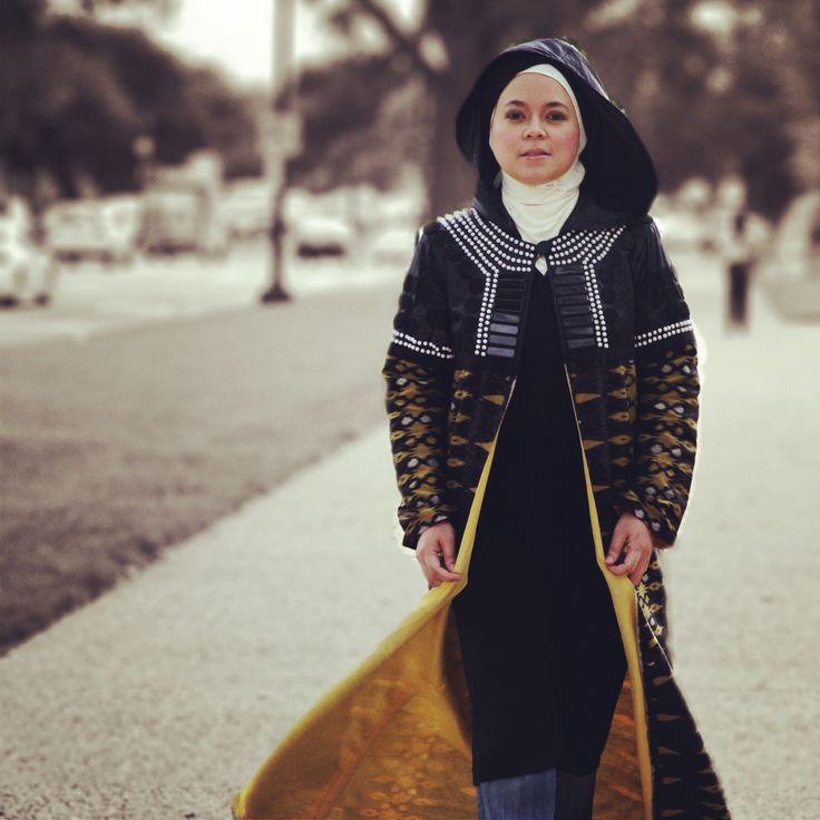 """Long robe with Indonesian local material named """"tenun ikat Blongsong from Palembang South Java"""" photo taken at Washington DC"""