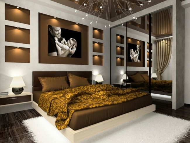 Schlafzimmer modern braun  wohnideen schlafzimmer modern braun wandlichter eingebaut | Home ...