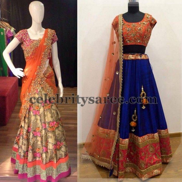 Glitter Look Royal Half Saris | Saree Blouse Patterns