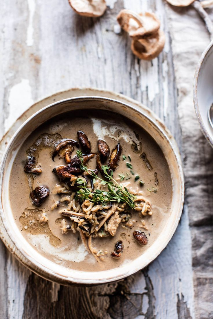 Cream of Mushroom Chicken Wild Rice Soup | halfbakedharvest.com @hbharvest