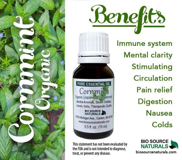 Cornmint Organic (Japanese Peppermint) Pure Essential Oil - Aromatherapy - Therapeutic Quality. Great for headaches, digestive issues, circulation, sore throat, colds, and nausea.  #aromatherapy