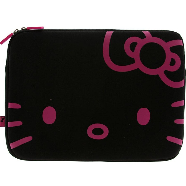 Hello Kitty Face Laptop Case (black / fuschia)