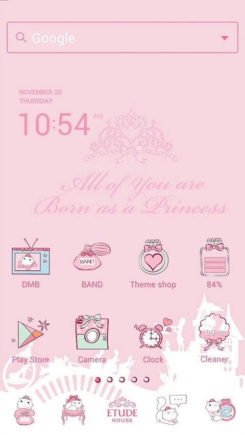 Really cute android theme (found in Line Launcher) for your little princess :)