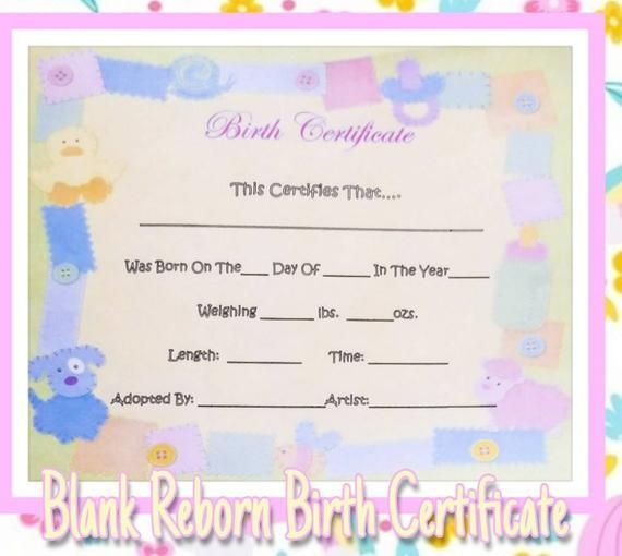 Reborn Baby Hospital Birth Certificate Blank Or Typed Example Etsy Baby Hospital Hospital Birth Reborn Babies