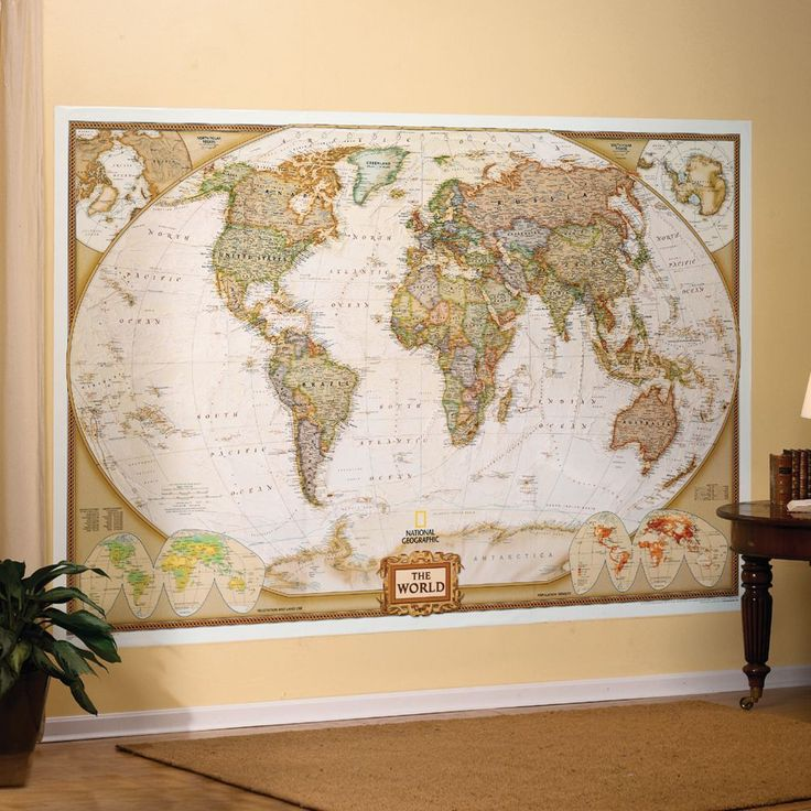 OK, kids. I ordered a map the size of the entire wall. Live it, learn it, love it. (World Mural Map, Earth-toned | National Geographic Store)