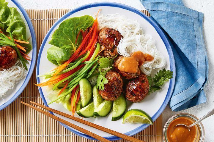 Rice noodle salad with satay pork patties