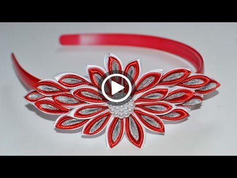 Цветок Канзаши на ободке. Мастер класс. DIY Kanzashi flower . Ribbon - YouTube