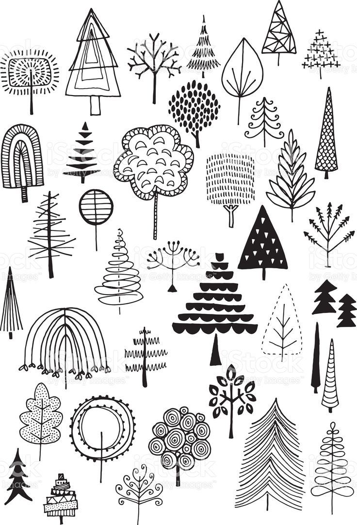 Hand drawn vector doodle trees, quirky and fun nature and Christmas…