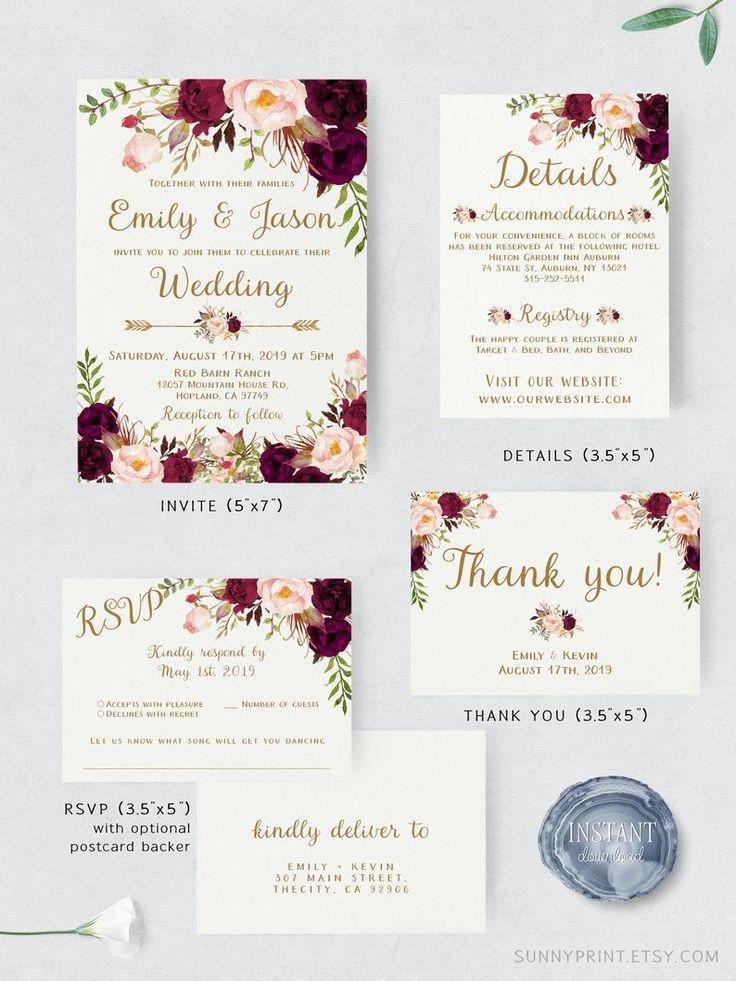 Burgundy wedding invitation Floral wedding invite