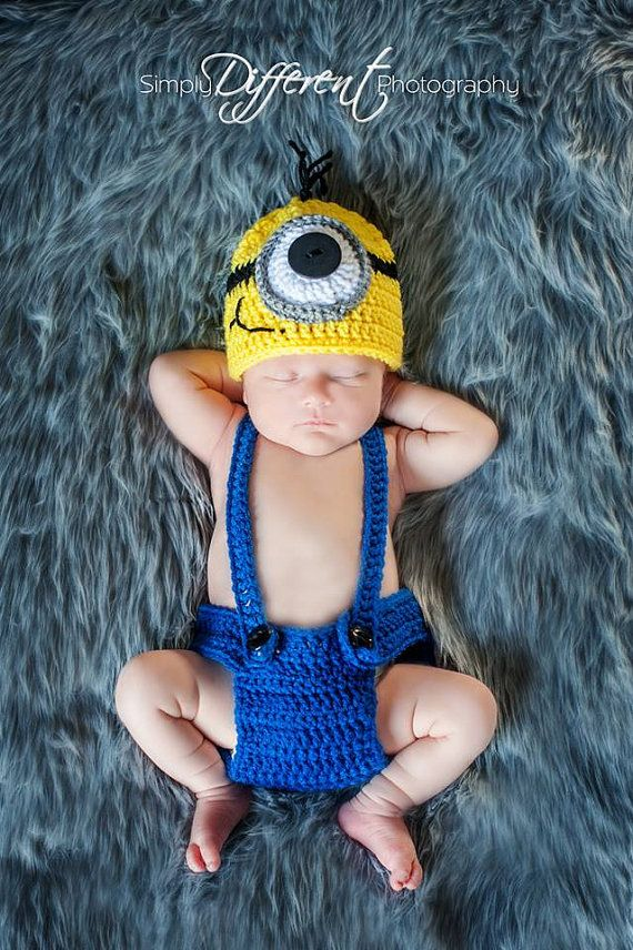 Crochet Patterns For Baby Overalls : RTS. FREE Shipping! Newborn Minion Outfit / Costume Baby ...